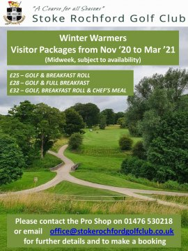 Winter Warmers - Midweek Golf Nov '20 to March 2021